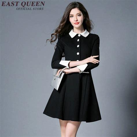 Hq 17041 White Shirt Dress aliexpress buy summer black dress with white collar three quarter sleeve button