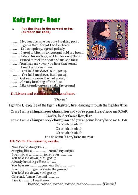 printable lyrics katy perry songs song worksheet roar by katy perry 5 activities