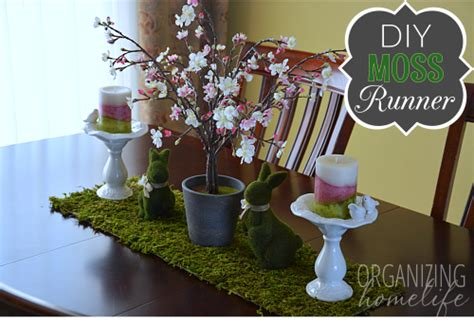 spring centerpiece  diy moss table runner organizing