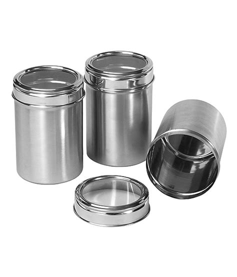 stainless kitchen canisters dynore stainless steel kitchen storage canisters dabba with see through lid set of 3 medium