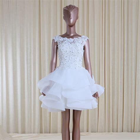 fashion design beaded organza puffy mini wedding dresses