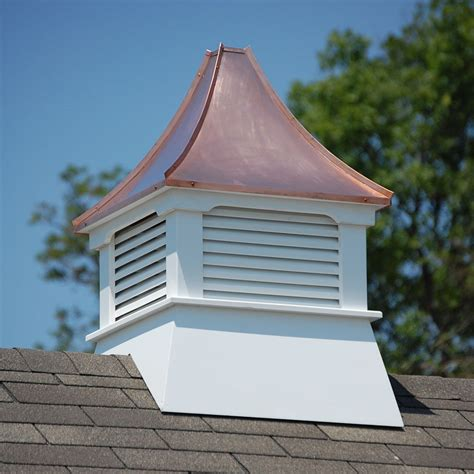 Square Cupola Accentua Olympia Vinyl Cupola With Copper Roof 24 In