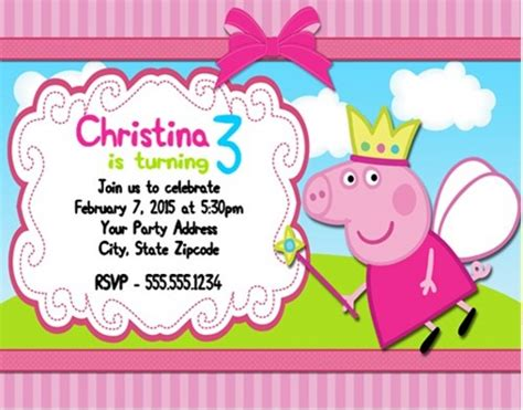 peppa pig invitations template peppa pig birthday invitations personalized custom