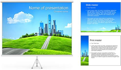Green City Concept Powerpoint Template Backgrounds Id Green It Concept Ppt