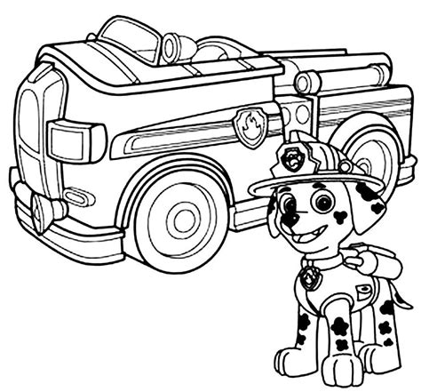 free coloring pages of marshall paw patrol