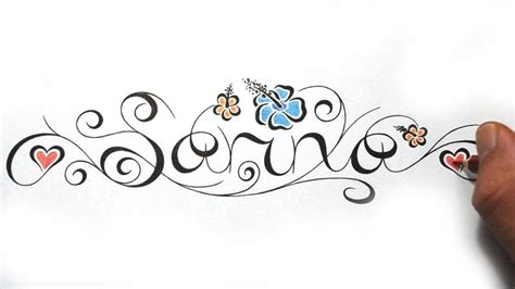 designing cool feminine calligraphy name incorporated into