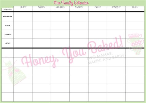 search results for weekly family calendar printable