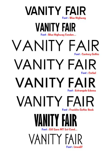 Vanity Fair Magazine Font Title Selection Stefan Barretto