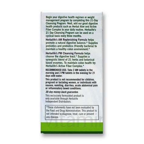 How To Take Herbalife Detox Program by Herbalife 21 Day Am Pm Herbal Cleansing Program 42 Am