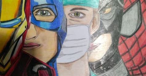 coronavirus  medici sono supereroi il disegno