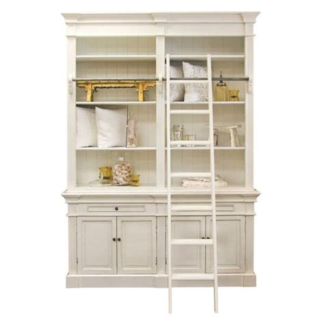 Library Bookcase With Ladder White White Library Bookcase