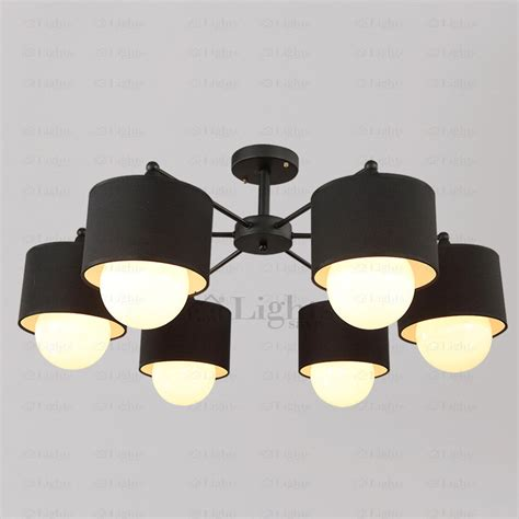 Black Ceiling Light Fixtures Modern 6 Light Fabric Shade Black Ceiling Light Fixtures