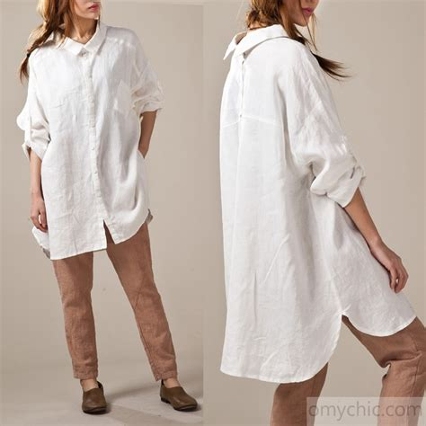 white linen shirts sleeve oversize womens linen