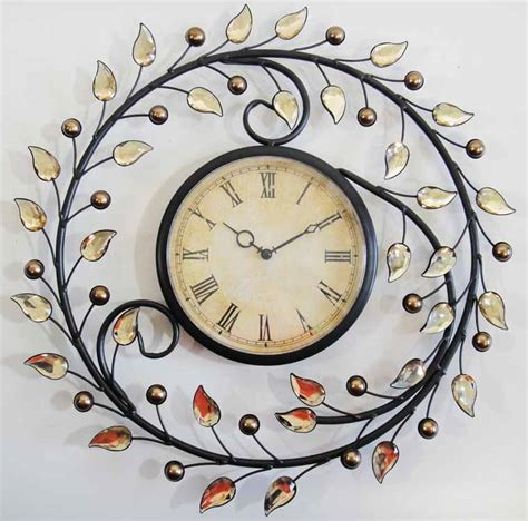 wall clock art new metal wall art wall clock autumn leaves wall