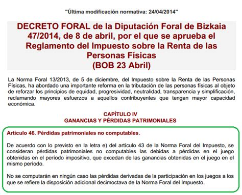 tributacin en el irpf 2013 de las ganancias patrimoniales el blog de laura guillot la diputaci 243 n foral de bizkaia