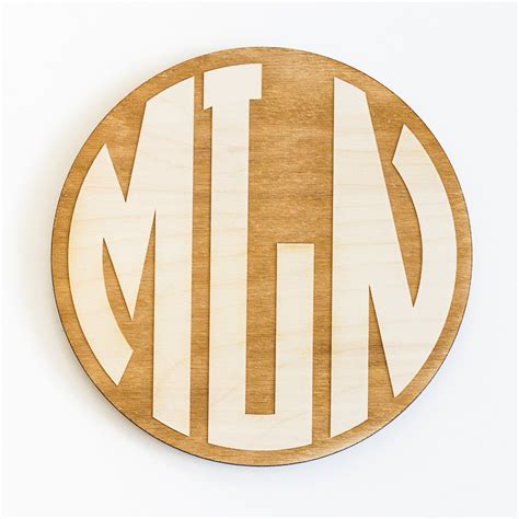 circle monogram engraved wood sign personalized wooden