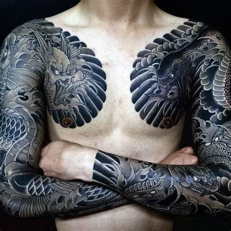 tattoo japanese dragon black 50 japanese chest tattoos for men masculine design ideas