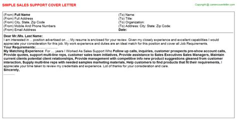 Sales Support Cover Letter by Sales Support Cover Letter Sle
