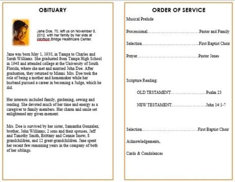 memorial bulletins for funerals program template