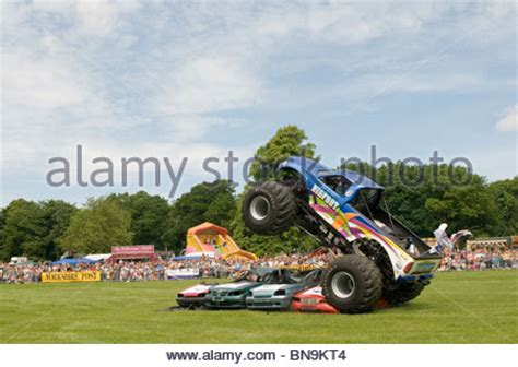 bigfoot 5 crushing monster trucks monster truck crushing junk car stock photo royalty free