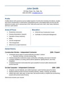 Resume Exles Union Workers Independent Contractor Resume Exle Construction Labor Trades