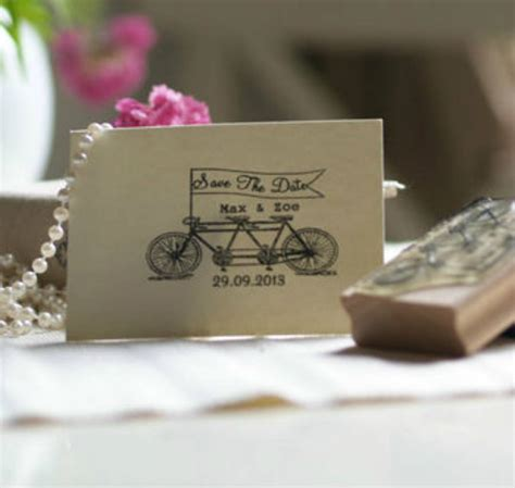 rubber st save the date tandem bike save the date rubber st by pretty rubber