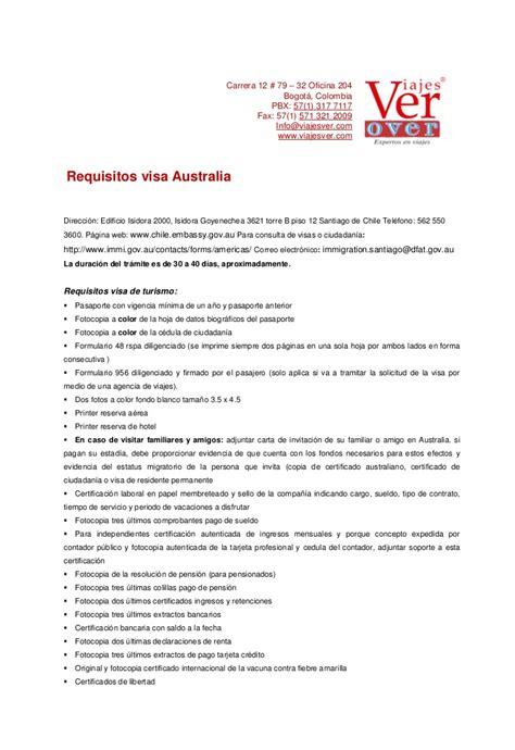 carta de invitacion para obtener visa americana visas australia documentaci 243 n tramites www viajesver