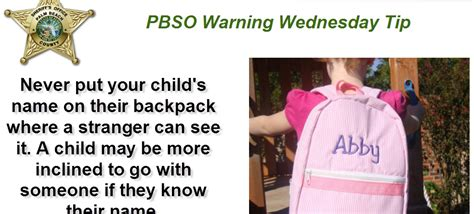 Does A Warning Go On Your Criminal Record Warning Wednesday Tip Never Put Your Child S Name On Their Backpack Palm