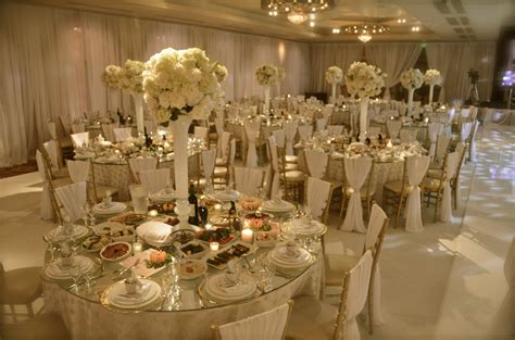 All White Wedding With Gold Accents Draped Chiavari Gold Centerpieces Wedding Reception