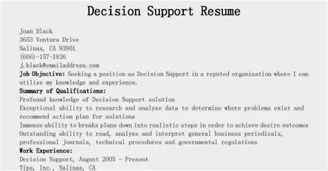Decision Support Sle Resume by Resume Sles Decision Support Resume Sle