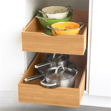 kitchen cabinet roll out drawers bamboo roll out cabinet drawers kitchen pinterest