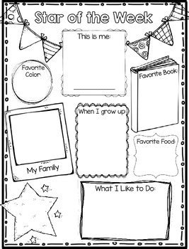 printable star of the week form star of the week poster parent letter and writing page