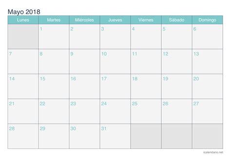 Calendario 2018 Excel Modificabile Calendario Mayo 2018 Para Imprimir Icalendario Net