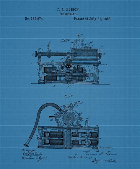 Records Blueprints Phonograph Blueprint Patent Drawing Drawing By Dan Sproul