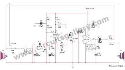 simple two way communication intercom circuit schematic