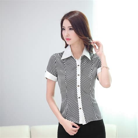 blusas para uniformes elegantes elegantes blusas de manga larga rayadas camisas