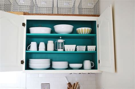 do you paint the inside of kitchen cabinets nesting colored kitchen cabinets a beautiful mess