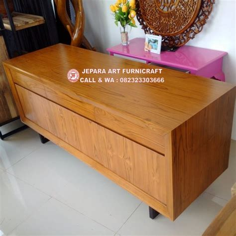 Bufet Tv Pintu Krawang Retro Jati terbaru dan termurah bufet minimalis jati vintage mid 001