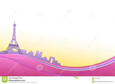 House Design Color Yellow by Abstract Background Pink Violet Paris Eiffel Tower Travel Frame Illustration Stock Vector