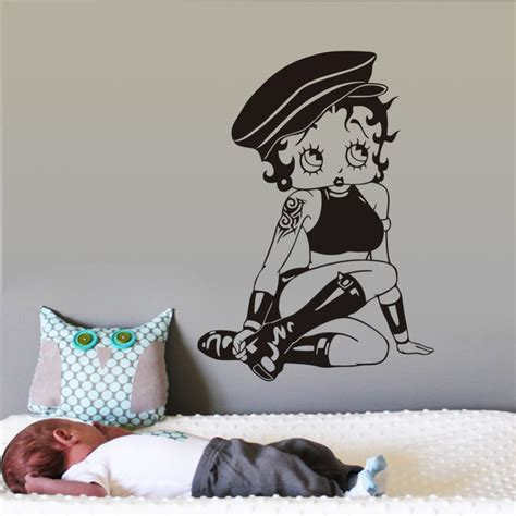 betty boop wallpaper for bedroom black lady betty baby wall sticker for kids room beauty
