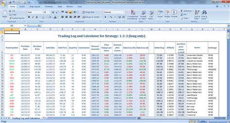 trading spreadsheet template options trading excel template