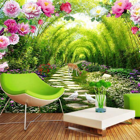 kustom foto wallpaper stiker dinding 3d mural pink bunga