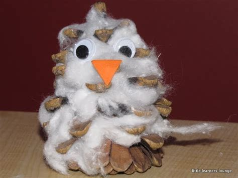 Tippytoe Crafts Pine Cone Snowy Owls - learners lounge arctic animals