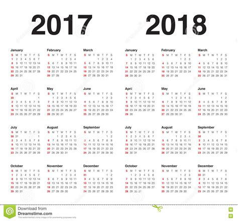 simple calendar template for 2017 and 2018 stock vector