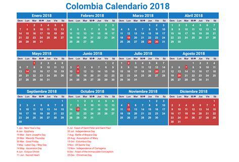 Calendario 2018 De Colombia Calendario 2018 Colombia Con Feriados Para Imprimir
