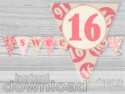 how to design a banner for sweet sixteen the great gatsby theme sweet 16 printable banner quinceanera pink cream birthday