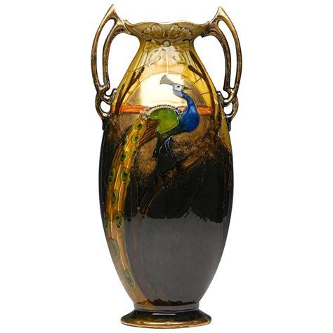 nouveau forester peacock vase circa 1890 at