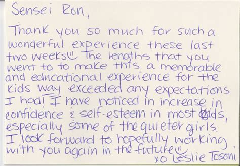 Thank You Letter Karate Instructor the gallery for gt thank you notes for preschool teachers