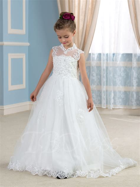 design flower girl dresses keyhole back appliques tulle wedding flower girl dress