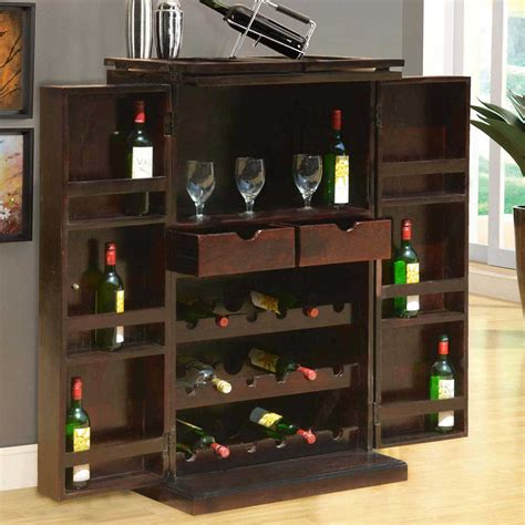 Wood Bar Cabinet Mexico Traditional Handcrafted Solid Wood Expandable Wine Bar Cabinet